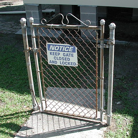 Locked gate with no fence (and not actually locked, either)